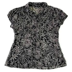 Apt 9 Black and White Floral Button Front Blouse
